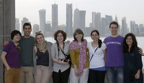 School of Communication students and faculty took issues of civic engagement to the students at NU-Q, Northwestern's communication and journalism program in Doha, Qatar. From left: Evan Troost, David DeJong, Shannon Oliver-O'Neil, Jacqueline Reyno, Rebecca Gilman, Julie Sher, Andrew Glor, Debra Tolchinsky