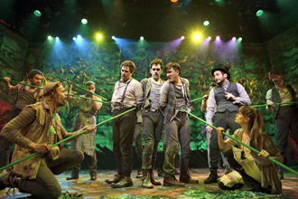 David Rossmer, Adam Chanler-Berat, Carson Elrod, and the cast of Peter and the Starcatcher ©O&M Co.