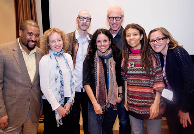 Pictured from left: Thomas Bradshaw, Jacquelyn Reingold, MFA in Writing for Screen and Stage director David Tolchinsky, Julia Louis-Dreyfus, Brad Hall, Kia Corthron, and Amanda Watkins