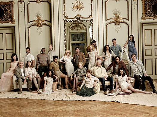 The cast of the re-launched All My Children, along with creator and writer Agnes Nixon (center, seated).