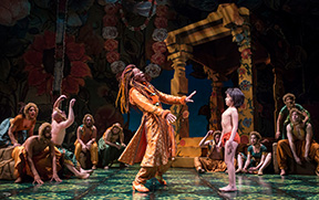André de Shields (King Louie) and Akash Chopra (Mowgli) in Tony Award-winning Northwestern alumna Mary Zimmerman's new musical adaption of The Jungle Book at Goodman Theatre.