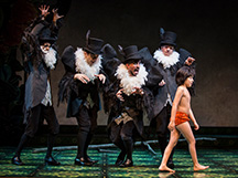 (L to R) Vultures Govind Kumar, Ed Kross, Nehal Joshi, and Geoff Packard in Tony Award-winning Northwestern alumna Mary Zimmerman's new musical adaption of The Jungle Book at Goodman Theatre.